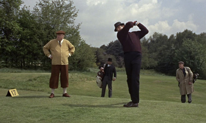 The classic golf scene from the film 'Goldfinger'