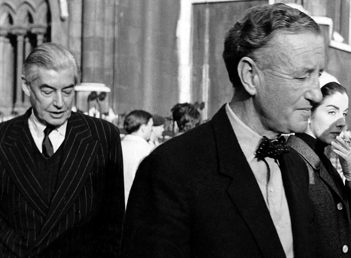 Ivar Bryce and Ian Fleming leaving court after settling with Kevin McClory