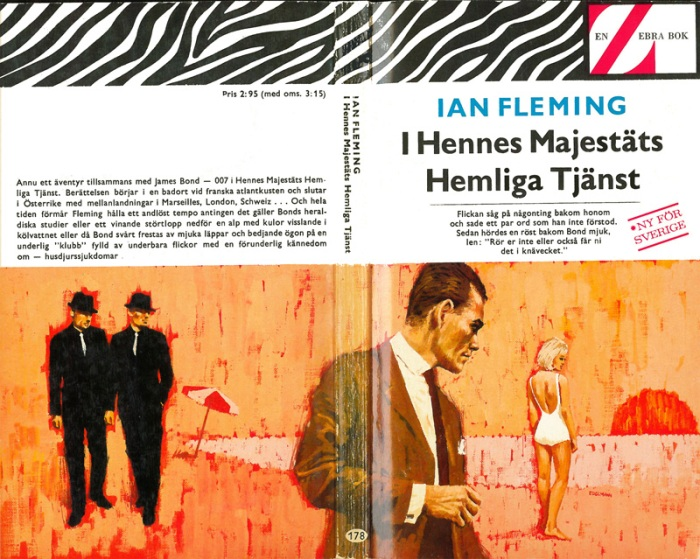 """I Hennes Majestäts Hemliga Tjänst"" (On Her Majesty's Secret Service), Albert Bonniers Förlag, 1965, Artwork by Yrjö Edelman."