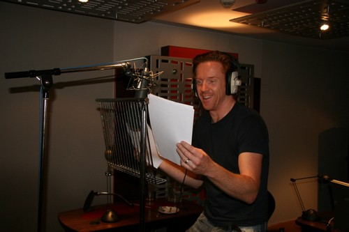 Actor Damian Lewis in the recording studio narrating Diamonds Are Forever