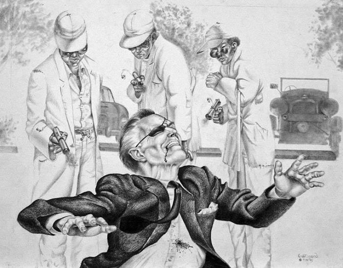 The 'Chigros' killing Strangways   Illustration George Almond courtesy of www.007magazine.com