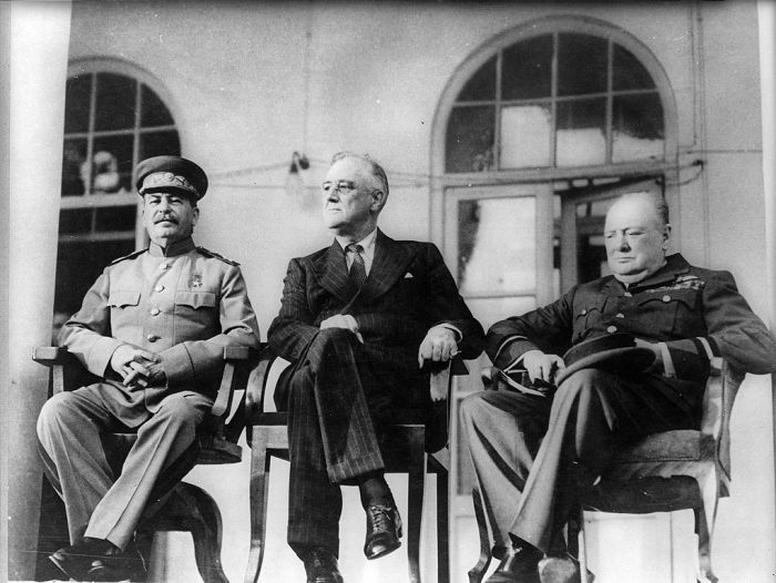 Joseph Stalin, Franklin D. Roosevelt and Winston Churchill meeting at the Tehran Conference in 1943