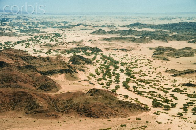 Desert landscape with dry streambed of Hoanib river, Damaraland (aerial), Namibia --- Image by © Frans Lanting/Corbis