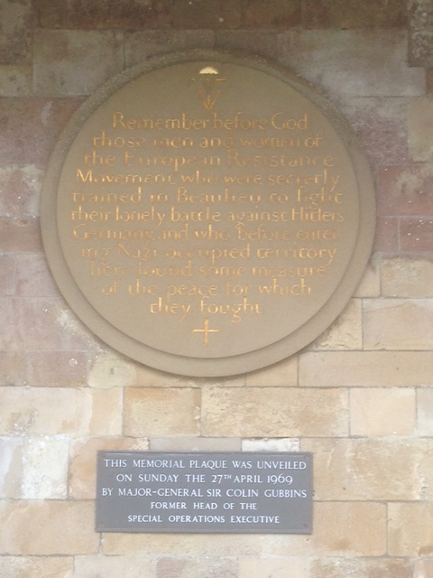 Memorial plaque at Beaulieu Park