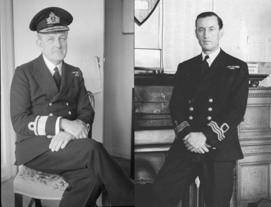 Rear Adm. John Godfrey and his assistant, Lt. Commander Ian Fleming.