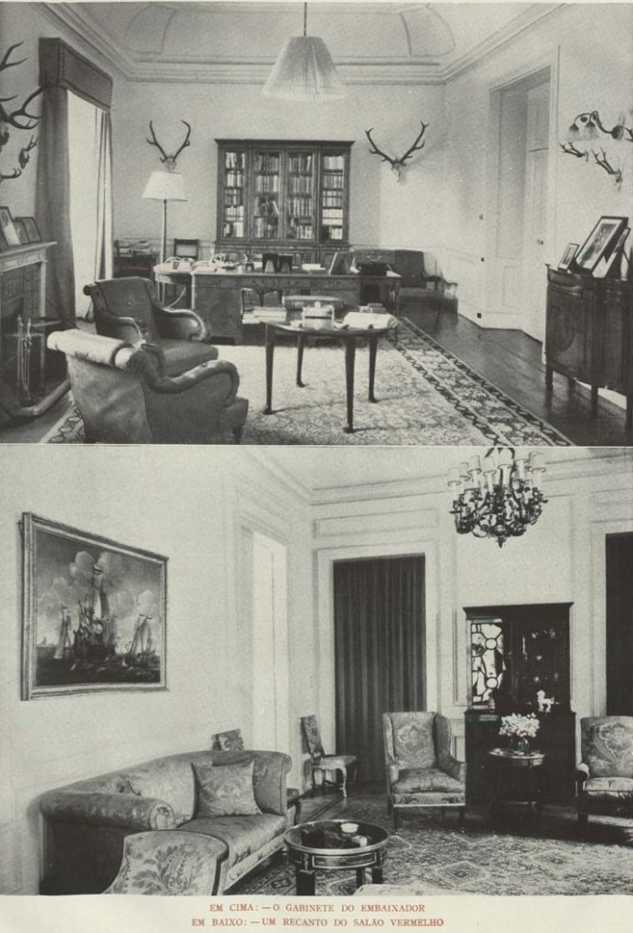 Above: Interior of the Palace of the Viscounts of Porto Covo da Bandeira,home to the British Embassy during the war. Below: German Embassy.