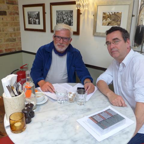 David Craggs (left) with Mick Herron (right)