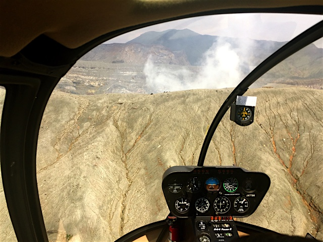 Flying towards the crater on Mount Aso