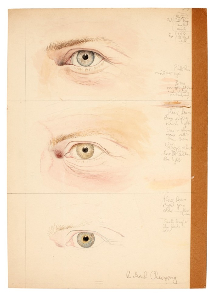 Three draft watercolour drawings of eyes | (C) 2020 Sotheby's